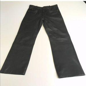 Custom Black Leather Pants motorcycle leathers euc